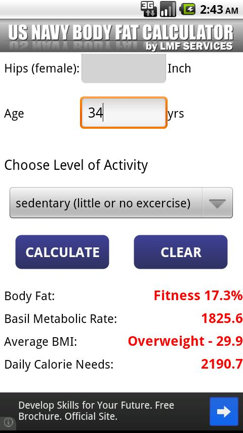 US  NAVY Body Fat Calculator- screenshot