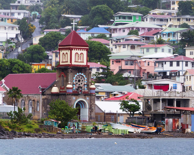 A view from the water in Soufriere, Dominica.