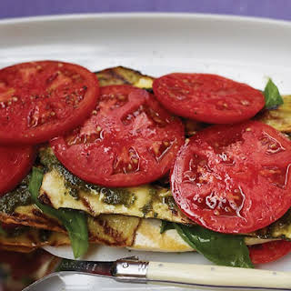 """Grilled Vegetable and Tofu """"Lasagna"""" with Pesto."""