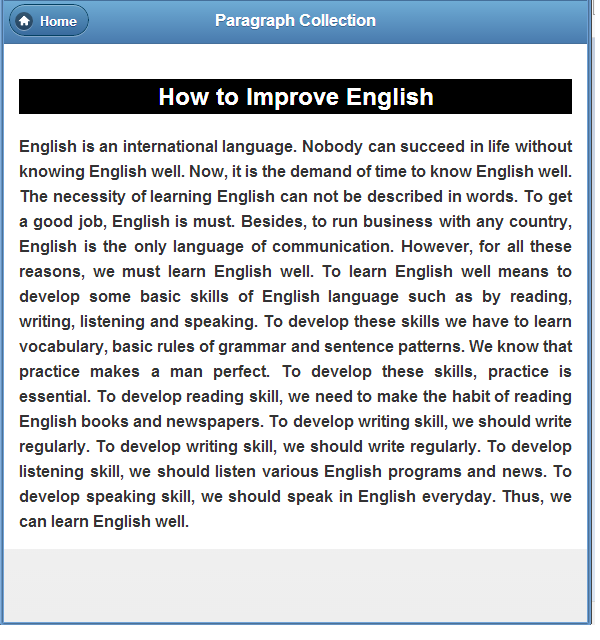 write a paragraph about learning english