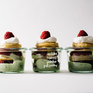 Mini Pistachio Matcha Raspberry Puff Pastry Mille Feuille Jars
