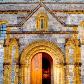 The doorway to Buckfast Abbey by Zoot The-Tog - Buildings & Architecture Places of Worship ( open, ornate, church, buckfast, sandstone, door, worship, entrance, abbey )