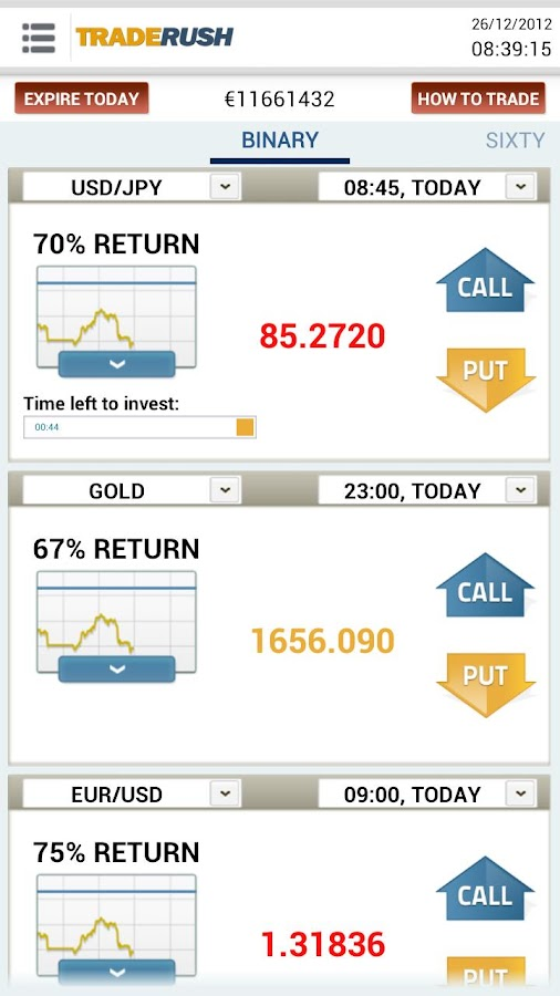 TRADERUSH Binary Options- screenshot