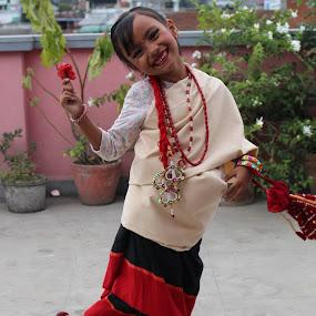 kid on traditional nepali costume by Raj Tandukar - Babies & Children Child Portraits ( mallishka, newar, tandukar, red rose, nepal,  )