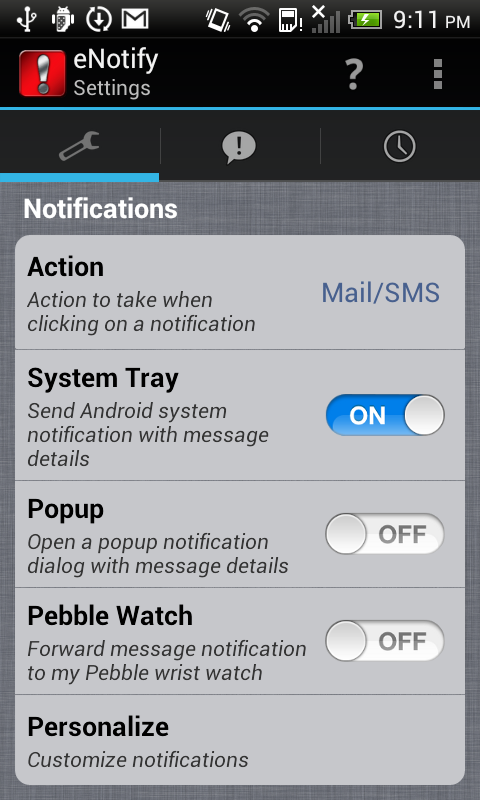 eNotify E-mail Alert IMAP POP3 - screenshot