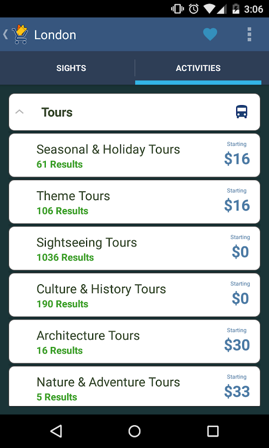 Tours & Activities- screenshot