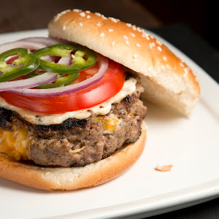 Mario Batali's Cheddar and Scallion Pocket Burgers.