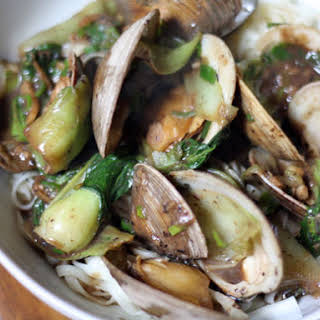 Clams with Black Bean Sauce, Bok Choy, and Noodles.