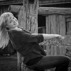 The Farmer's Daughter. by Rick Sherwin - People Portraits of Women ( farm, blonde, girl, playful, happy, movement, rustic, smiling )