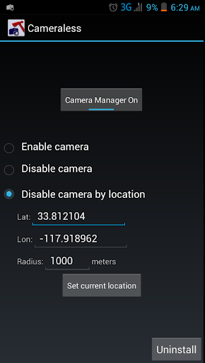 Cameraless - camera disable