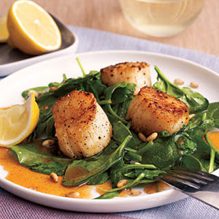 Scallops with Spinach and Paprika Syrup.