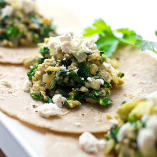 Breakfast Tacos With Eggs, Onions and Collard Greens