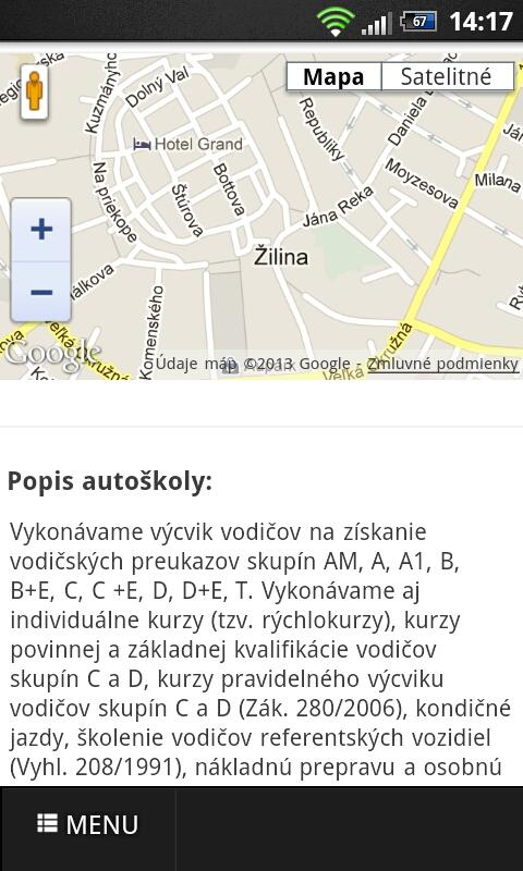 Vodičák- screenshot