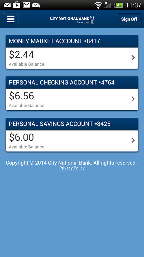 City National Mobile - screenshot