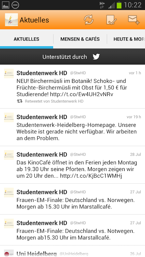 Studentenwerk Heidelberg - screenshot