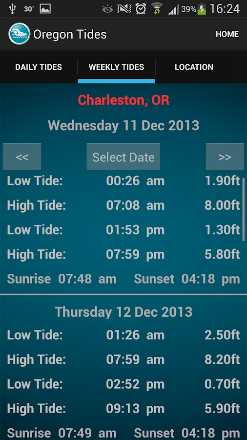 Oregon Tide Times - screenshot