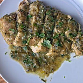 Baked Chicken with Roasted Tomatillo Cream Sauce