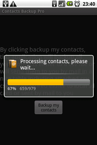 Contacts Backup Trial - screenshot