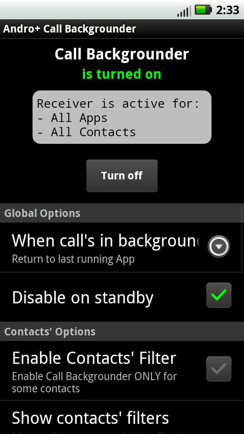 A+ Call Manager (Backgrounder) - screenshot