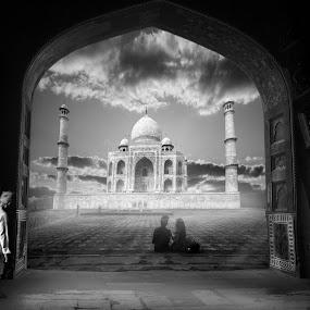 Taj Mahal by Svetlin Ivanov - Black & White Buildings & Architecture ( taj mahal, picsvet, india )