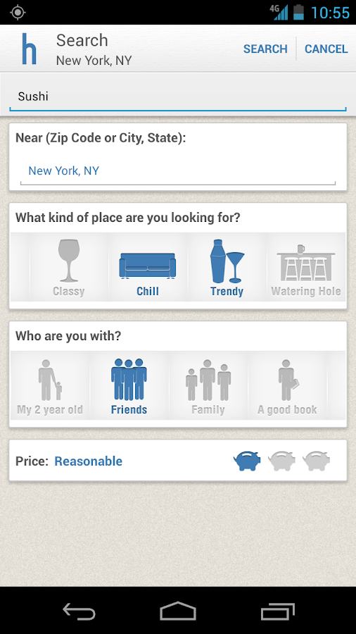 Hoppit: Restaurants by Mood - screenshot
