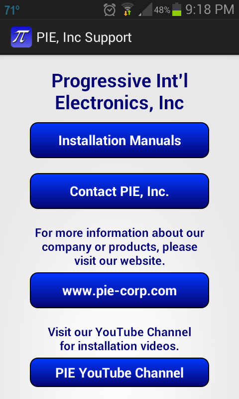 PIE, Inc Support- screenshot