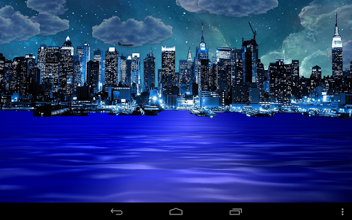 Night city from sea LWP Key