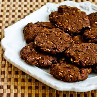 Whole Grain Low-Sugar (or sugar-free) Chocolate Cookies with Pecans.