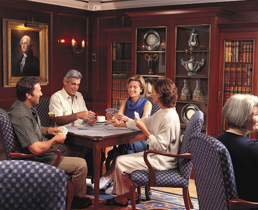 Oceania-Game-room-1 - Challenge your fellow passengers to a friendly game of cards in the Game Room during your cruise on Oceania Regatta.