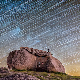 Flinstones House by Henrique Martins - Buildings & Architecture Homes ( flinstones, startrail, astrophotography, architecture, house, nightphotography, builidings )