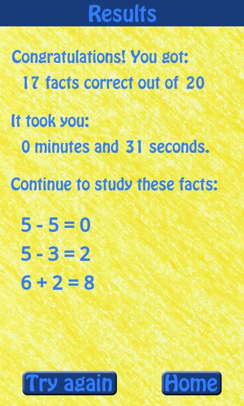 Know Your Math Facts- screenshot
