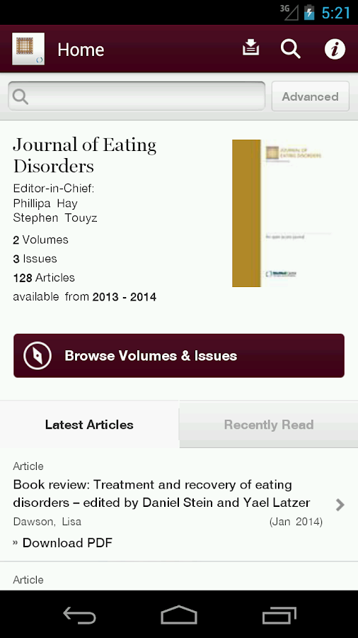 Journal of Eating Disorders - screenshot
