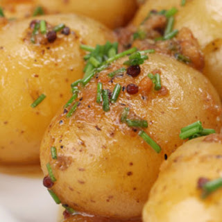 Roasted New Potatoes with Mustard Seeds and Chives.