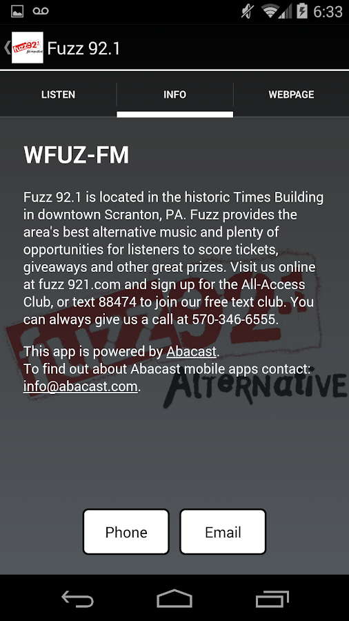 Fuzz 92.1 - screenshot