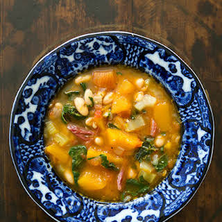 White Bean Soup with Ham, Pumpkin, and Chard.