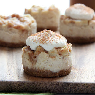 Mini Apple Pie Cheesecakes with Brown Sugar Whipped Cream.