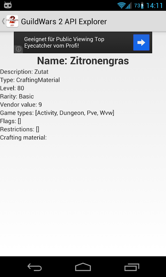 Guild Wars 2 API Explorer - screenshot