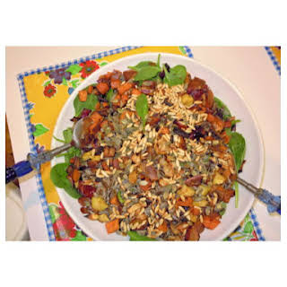 Warm Wild rice root vegetable salad with maple- sage vinaigrette.