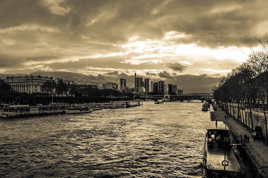 Seine river by Vinod Kandrapu - Black & White Objects & Still Life ( water, paris, seine river, boats, travel )