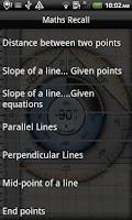 Screenshot of Maths Recall