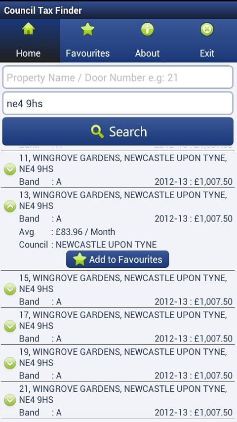 Council Tax Finder App - screenshot