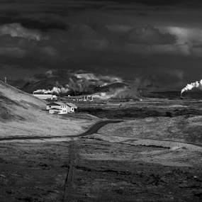 Lighthouse on the hill by Sigurbjörn Agust Ragnarsson - Landscapes Travel ( clouds, hill, europe, white, lighthouse, road, landscape, iceland, reykjanes, power, power plant, black, peninsula, steam )