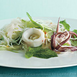 Asian Rice noodles salad with Calamari and Herbs.