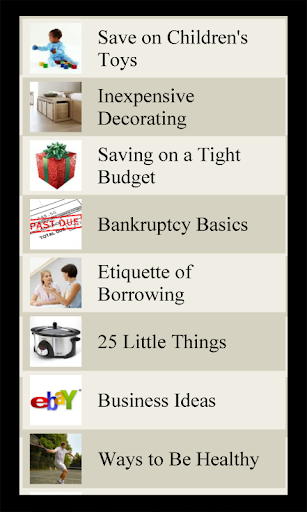 Money Saving Lists