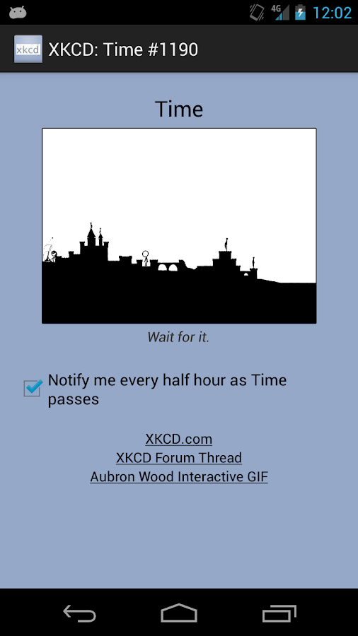XKCD: Time #1190 Notifier- screenshot