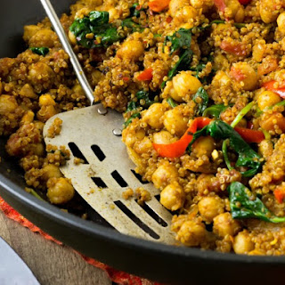 Indian Quinoa and Chickpea Stir Fry.