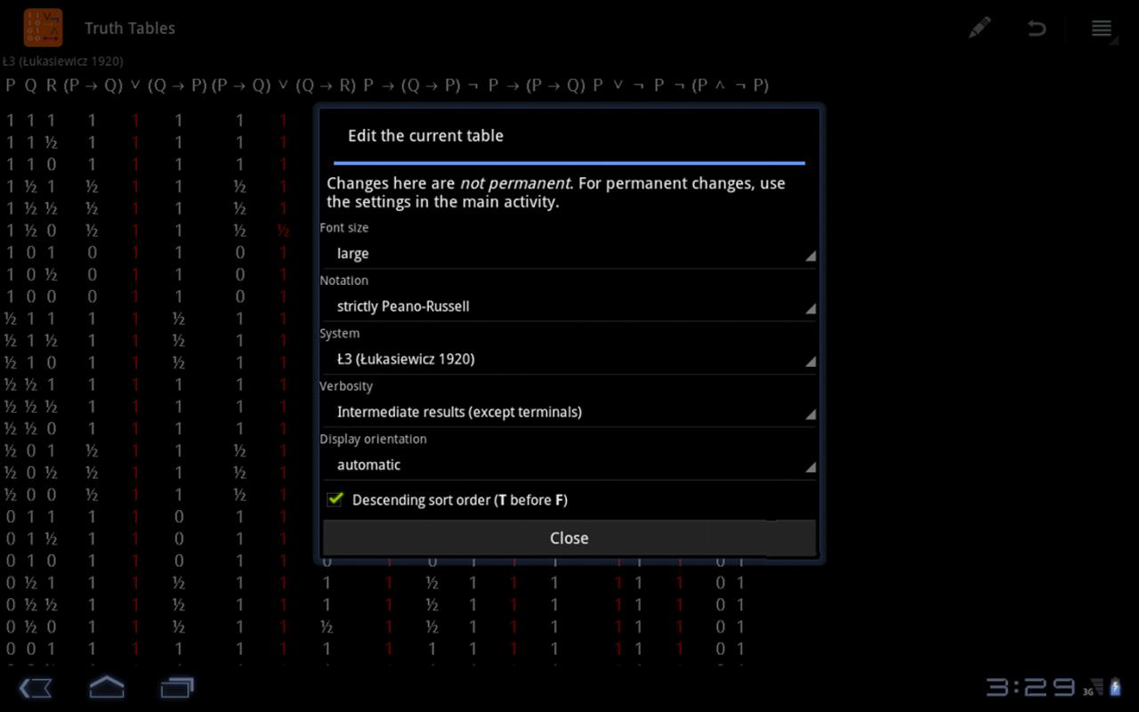 Truth Tables - screenshot