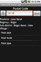 Screenshot of Indonesian Postal Code