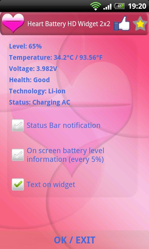 Heart Battery HD Widget 2x2 - screenshot