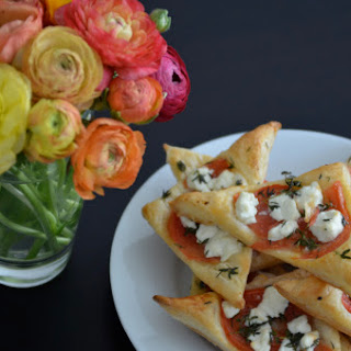 Goat Cheese and Tomato Triangles.